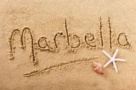 Marbella Spain hand written beach word travel concept