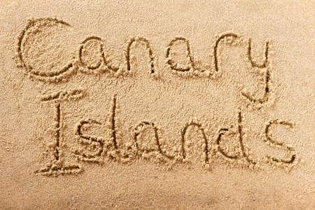 Canary Islands hand written beach word travel concept