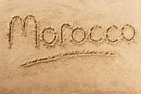 Morocco hand written beach word travel concept 스톡 콘텐츠