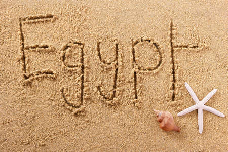 Egypt hand written beach word travel concept