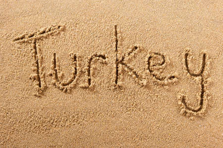 Turkey hand written beach word travel concept