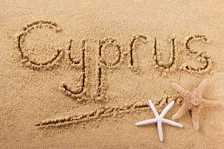 Cyprus hand written beach word travel concept