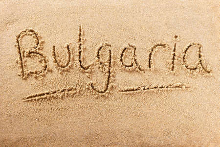 Bulgaria hand written beach word travel concept