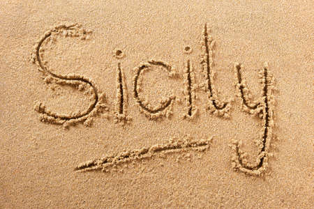 Sicily hand written beach word travel concept 스톡 콘텐츠