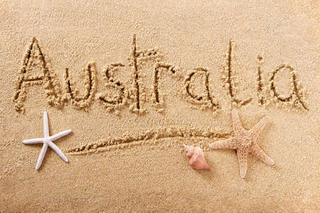 Australia beach word hand written sign travel concept 스톡 콘텐츠