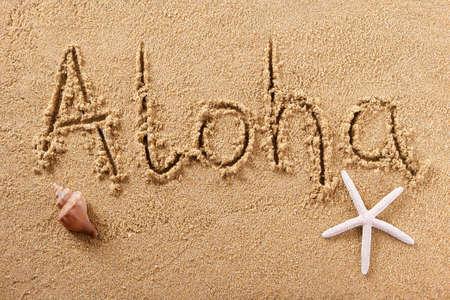Aloha Hawaii hand written beach word greeting concept