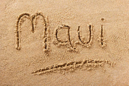 Maui Hawaii hand written beach word travel concept