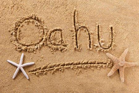 Oahu Hawaii hand written beach word travel concept Standard-Bild