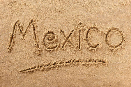 Mexico beach hand written word travel concept 스톡 콘텐츠