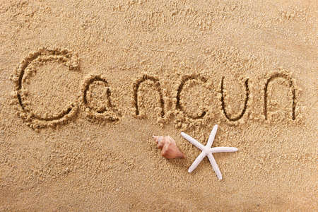 Cancun Mexico hand written beach word travel concept