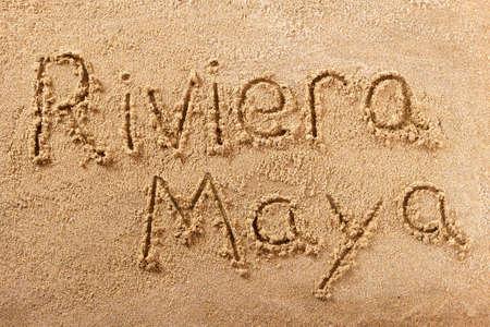 Riviera Maya Mexico hand written beach word travel concept Standard-Bild