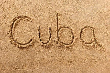 Cuba hand written beach word travel concept 스톡 콘텐츠
