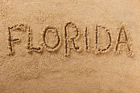 Florida hand written beach word travel concept