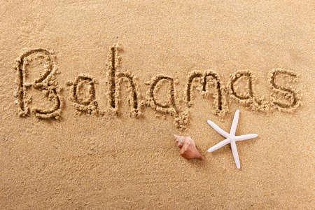 Bahamas hand written beach word travel concept