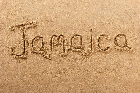 Jamaica hand written beach word travel concept