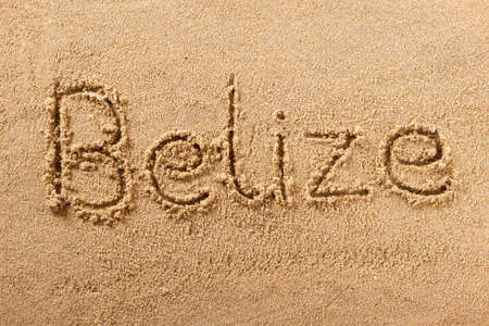 Belize hand written beach word travel concept