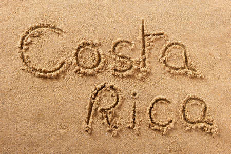 Costa Rica hand written beach word travel concept