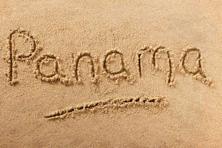 Panama hand written beach word travel concept