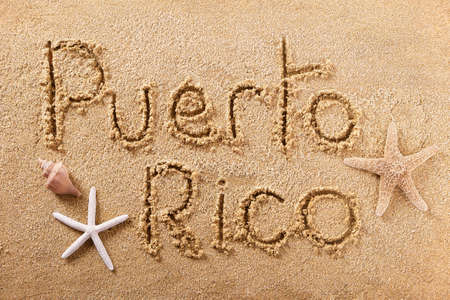 Puerto Rico hand written beach word travel concept