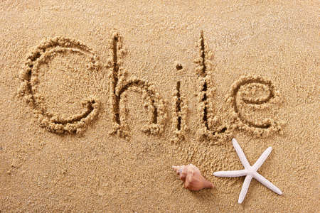 Chile hand written beach word travel concept 스톡 콘텐츠