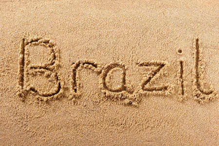 Brazil hand written beach word travel concept 스톡 콘텐츠