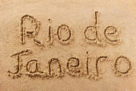 Rio de Janeiro Brazil hand written beach word travel concept