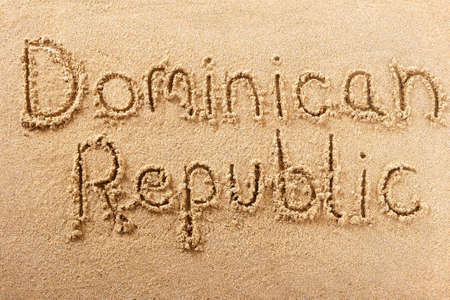 Dominican Republic hand written beach word travel concept 스톡 콘텐츠