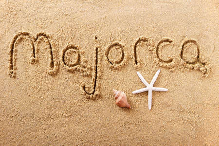 Majorca Mallorca hand written beach word travel concept