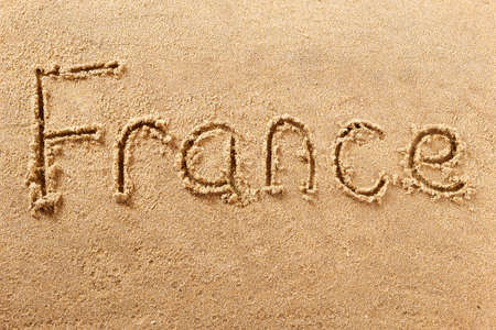 France hand written beach word travel concept 스톡 콘텐츠