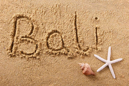 Bali hand written beach word travel concept