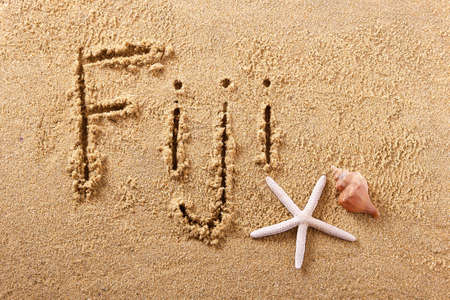 Fiji hand written beach word travel concept