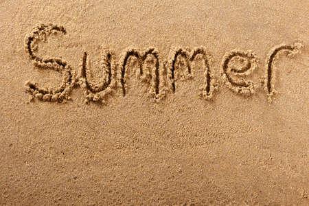 Summer hand written beach word travel holiday concept
