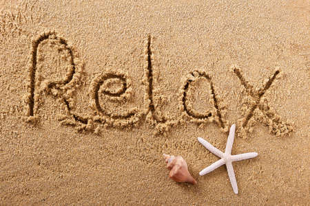 Relax relaxation leisure hand written beach word travel concept 스톡 콘텐츠