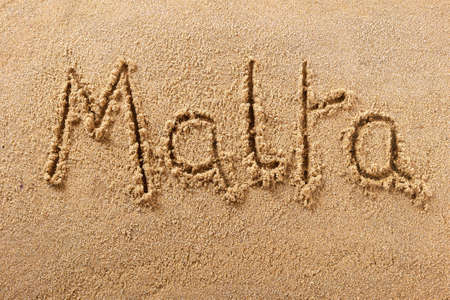 Malta hand written beach word travel concept
