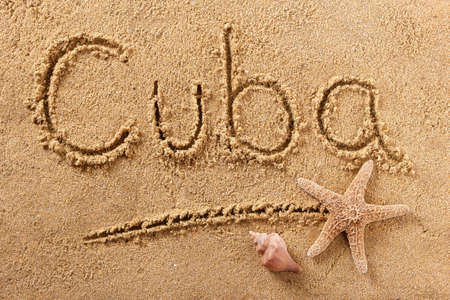 Cuba beach word summer travel writing concept 스톡 콘텐츠