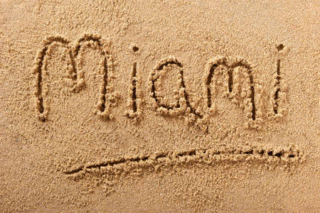 Miami Florida beach word summer travel writing concept 스톡 콘텐츠