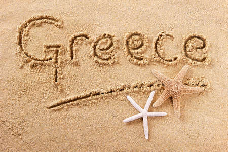 Greece beach word travel writing concept