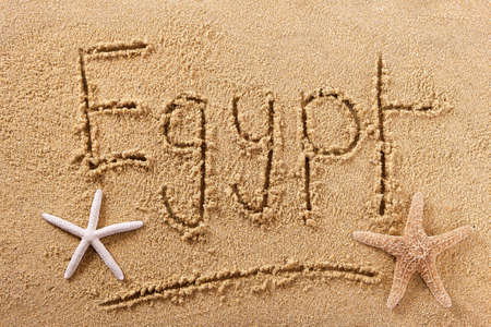 Egypt beach word travel writing concept 스톡 콘텐츠