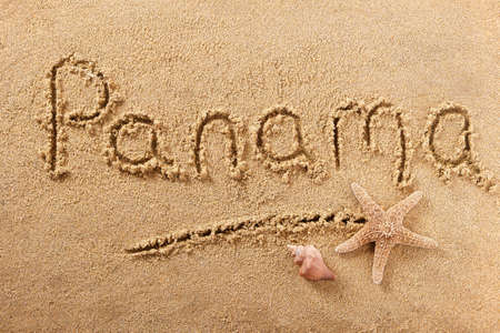 Panama beach word travel message writing concept 스톡 콘텐츠