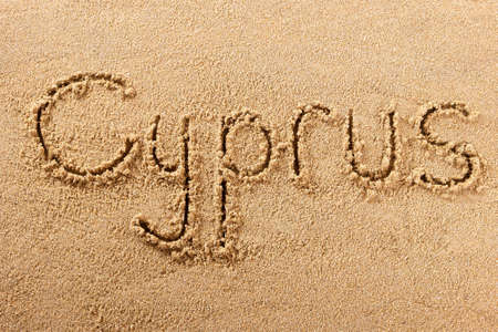 Cyprus beach word travel writing concept 스톡 콘텐츠