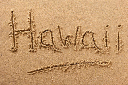 Hawaii beach word travel writing concept