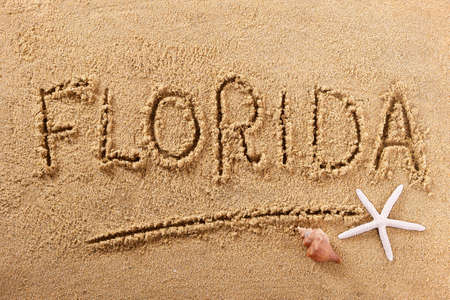 Florida beach word summer travel writing concept 스톡 콘텐츠