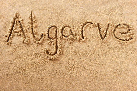 Algarve Portugal beach word travel writing concept