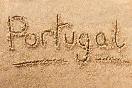 Portugal algarve beach word travel writing concept