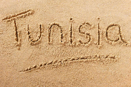 Tunisia beach word travel writing concept