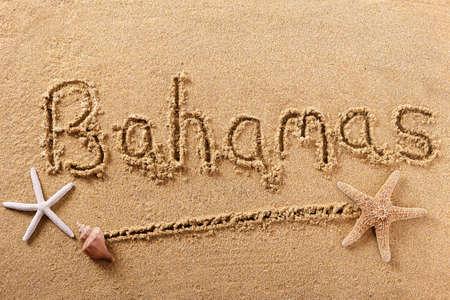 Bahamas beach word caribbean travel writing concept