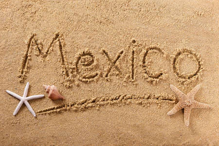 Mexico Mexican beach word travel writing concept