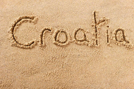 Croatia beach word travel writing concept