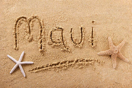 Maui Hawaii beach word travel writing concept 스톡 콘텐츠