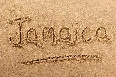 Jamaica beach word summer travel writing concept Standard-Bild